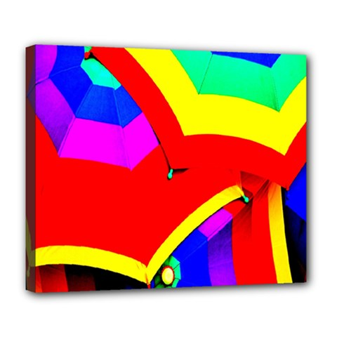 Umbrella Color Red Yellow Green Blue Purple Deluxe Canvas 24  X 20   by AnjaniArt