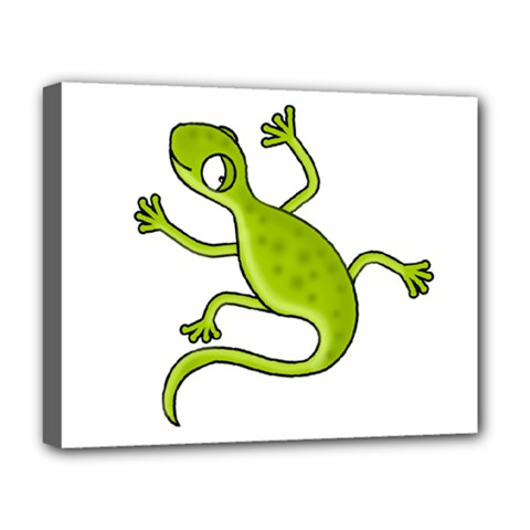 Green Lizard Deluxe Canvas 20  X 16   by Valentinaart