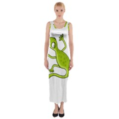 Green Lizard Fitted Maxi Dress by Valentinaart