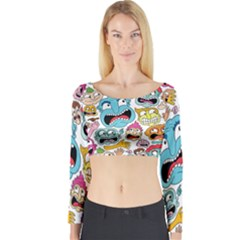 Weird Faces Pattern Long Sleeve Crop Top