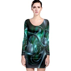 Ws Blue Green Float Long Sleeve Bodycon Dress by AnjaniArt