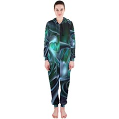 Ws Blue Green Float Hooded Jumpsuit (ladies)  by AnjaniArt