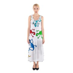 Colorful Lizards Sleeveless Maxi Dress