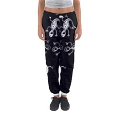 Black And White Lizards Women s Jogger Sweatpants by Valentinaart