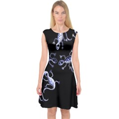 Blue Decorative Artistic Lizards Capsleeve Midi Dress