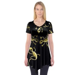 Yellow Lizards Short Sleeve Tunic  by Valentinaart