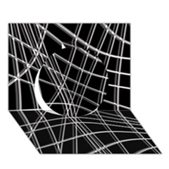 Black And White Warped Lines Circle 3d Greeting Card (7x5) by Valentinaart