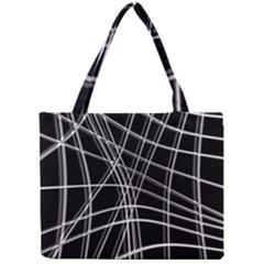 Black And White Warped Lines Mini Tote Bag by Valentinaart