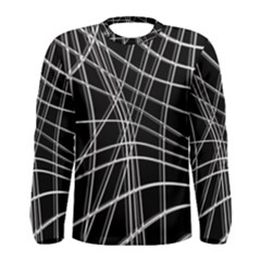 Black And White Warped Lines Men s Long Sleeve Tee