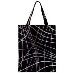 Black And White Warped Lines Zipper Classic Tote Bag by Valentinaart