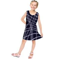 Black And White Warped Lines Kids  Tunic Dress by Valentinaart