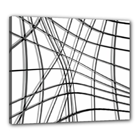 White And Black Warped Lines Canvas 24  X 20  by Valentinaart
