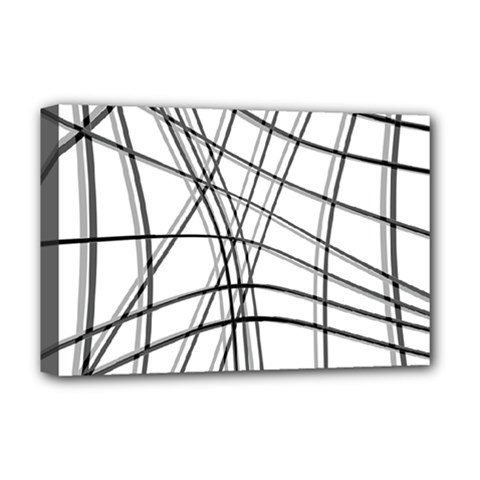 White And Black Warped Lines Deluxe Canvas 18  X 12   by Valentinaart