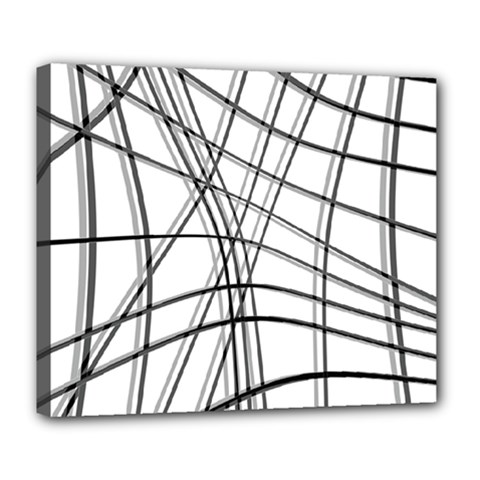 White And Black Warped Lines Deluxe Canvas 24  X 20   by Valentinaart