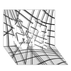 White And Black Warped Lines Love 3d Greeting Card (7x5) by Valentinaart