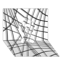 White And Black Warped Lines Ribbon 3d Greeting Card (7x5) by Valentinaart