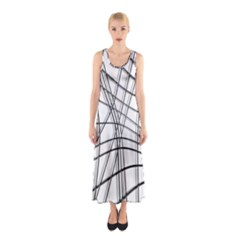 White And Black Warped Lines Sleeveless Maxi Dress by Valentinaart
