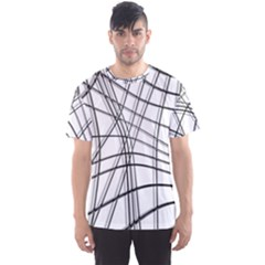 White And Black Warped Lines Men s Sport Mesh Tee by Valentinaart