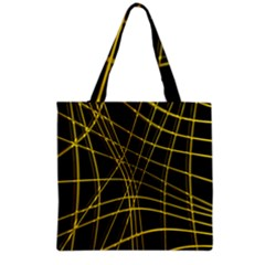 Yellow Abstract Warped Lines Grocery Tote Bag by Valentinaart