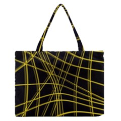 Yellow Abstract Warped Lines Medium Zipper Tote Bag by Valentinaart