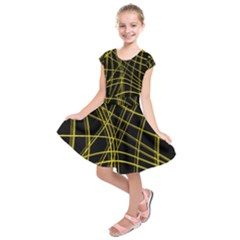 Yellow Abstract Warped Lines Kids  Short Sleeve Dress by Valentinaart