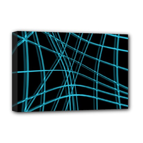 Cyan And Black Warped Lines Deluxe Canvas 18  X 12   by Valentinaart