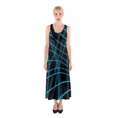 Cyan And Black Warped Lines Sleeveless Maxi Dress