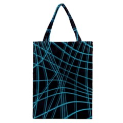Cyan And Black Warped Lines Classic Tote Bag by Valentinaart