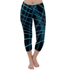 Cyan And Black Warped Lines Capri Winter Leggings