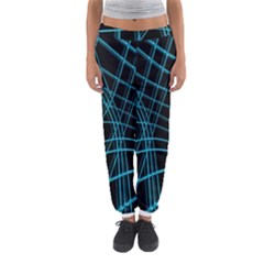 Cyan And Black Warped Lines Women s Jogger Sweatpants by Valentinaart