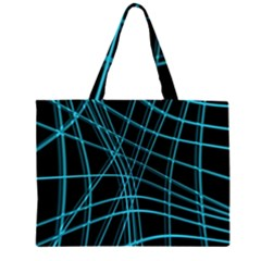 Cyan And Black Warped Lines Zipper Large Tote Bag by Valentinaart