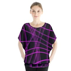 Purple And Black Warped Lines Blouse by Valentinaart