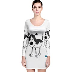 My Cute Dog Long Sleeve Velvet Bodycon Dress by Valentinaart