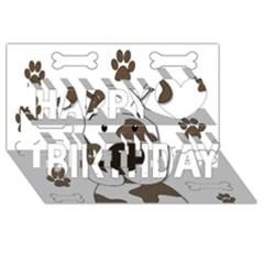 Cute Dog Happy Birthday 3d Greeting Card (8x4) by Valentinaart