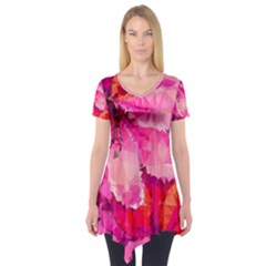 Geometric Magenta Garden Short Sleeve Tunic  by DanaeStudio