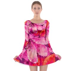 Geometric Magenta Garden Long Sleeve Skater Dress by DanaeStudio