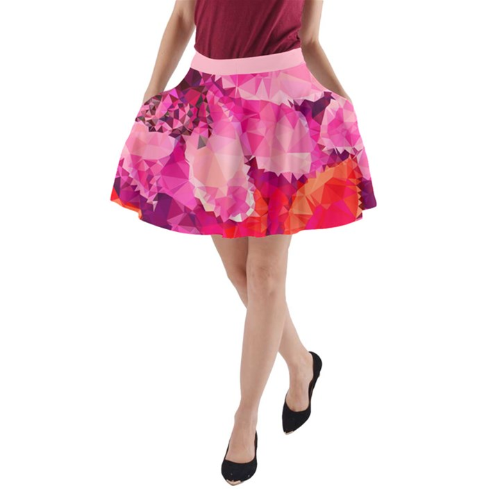 Geometric Magenta Garden A-Line Pocket Skirt