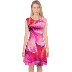 Geometric Magenta Garden Capsleeve Midi Dress by DanaeStudio