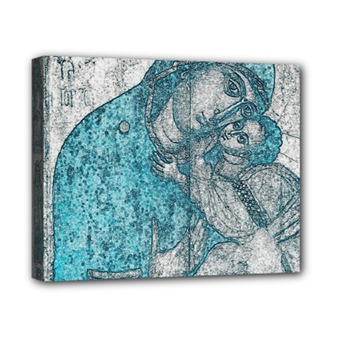 Mother Mary And Infant Jesus Christ  Blue Portrait Old Vintage Drawing Canvas 10  X 8  by yoursparklingshop