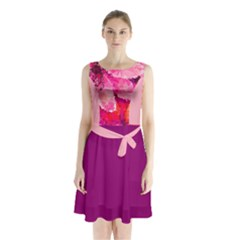 Geometric Magenta Garden Sleeveless Chiffon Waist Tie Dress by DanaeStudio