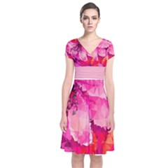 Geometric Magenta Garden Short Sleeve Front Wrap Dress by DanaeStudio