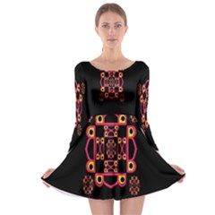 LETTER R Long Sleeve Skater Dress