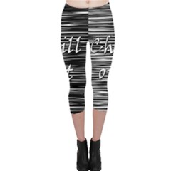 Black An White  chill Out  Capri Leggings  by Valentinaart