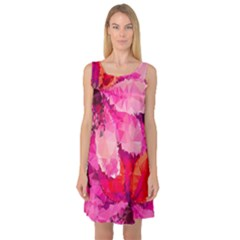 Geometric Magenta Garden Sleeveless Satin Nightdress by DanaeStudio