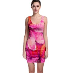 Geometric Magenta Garden Bodycon Dress by DanaeStudio