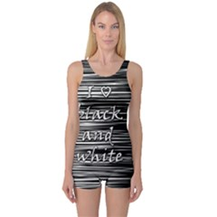 I love black and white One Piece Boyleg Swimsuit