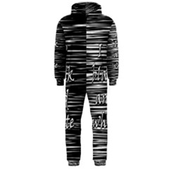 I love black and white Hooded Jumpsuit (Men)