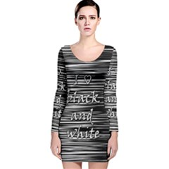 I love black and white Long Sleeve Velvet Bodycon Dress