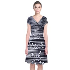 I love black and white Short Sleeve Front Wrap Dress