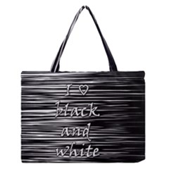 I Love Black And White Medium Zipper Tote Bag by Valentinaart